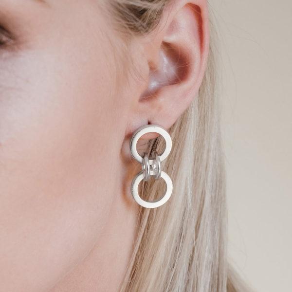 Forte Dual Link Earrings from NZ Jewellery designer, Black Matter
